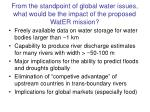 from the standpoint of global water issues what would be the impact of the proposed water mission