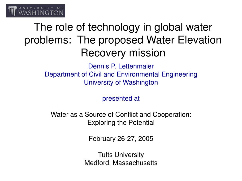 the role of technology in global water problems the proposed water elevation recovery mission l.