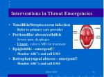 interventions in throat emergencies
