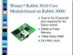 winner rabbit 3010 core module based on rabbit 3000
