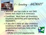 1 inventory hazmart