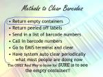 methods to clear barcodes
