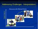 addressing challenges interpretations