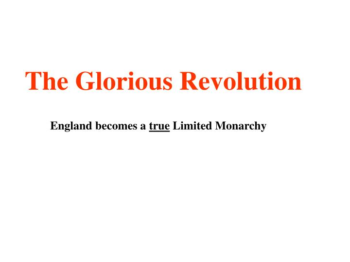 the glorious revolution n.