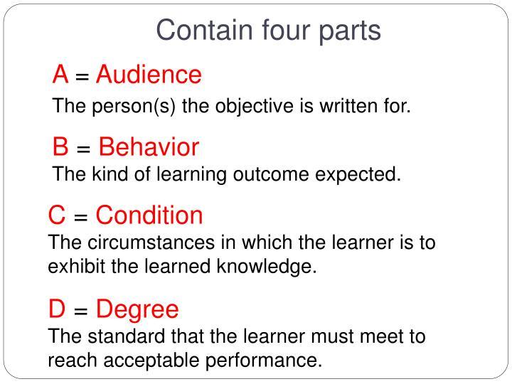 Contain four parts