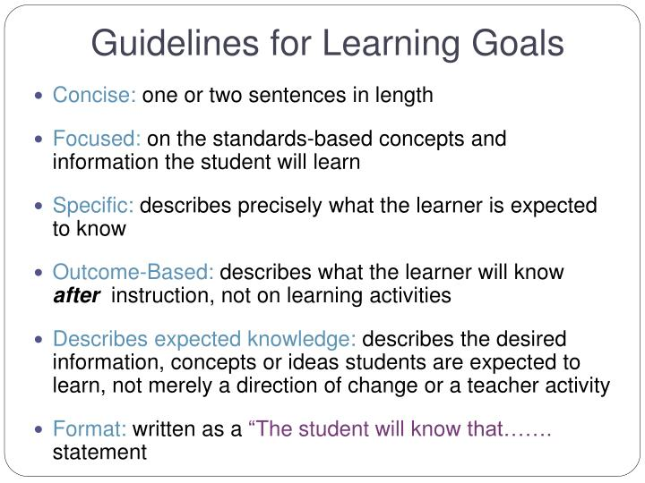 Guidelines for Learning Goals