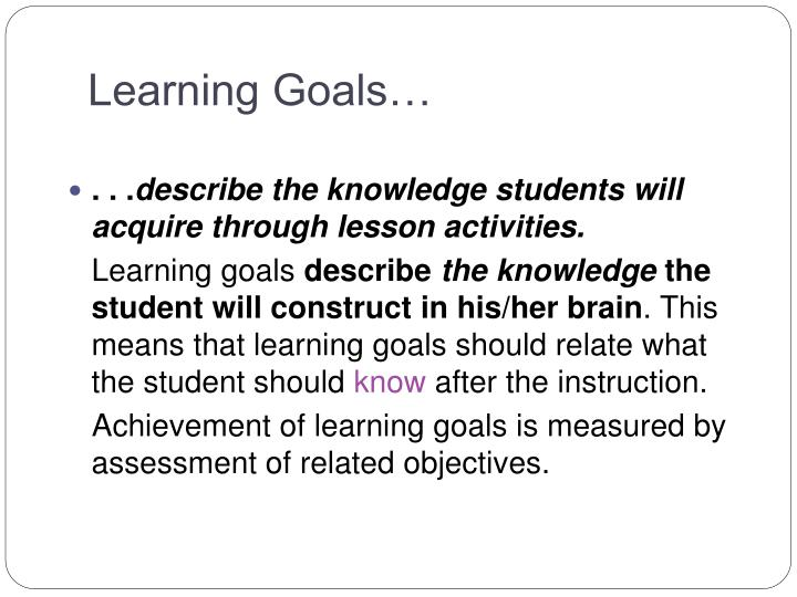 Learning Goals…