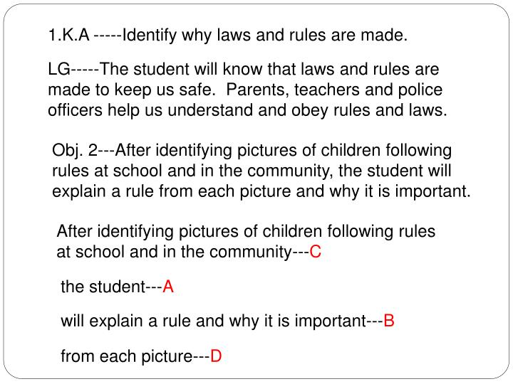 1.K.A -----Identify why laws and rules are made.