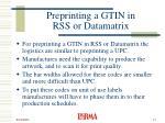 preprinting a gtin in rss or datamatrix