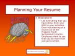 planning your resume