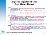 expected impacts by sector from climate change