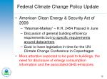 federal climate change policy update