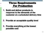 three requirements for production