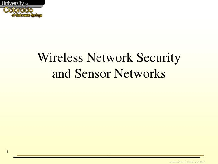 wireless network security and sensor networks n.