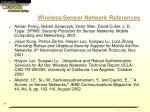 wireless sensor network references