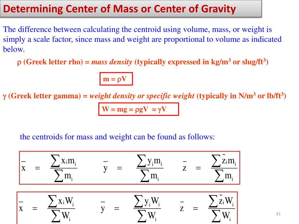 PPT - Center of Gravity, Center of Mass, and Centroid of a