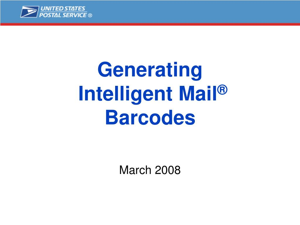 generating intelligent mail barcodes l.
