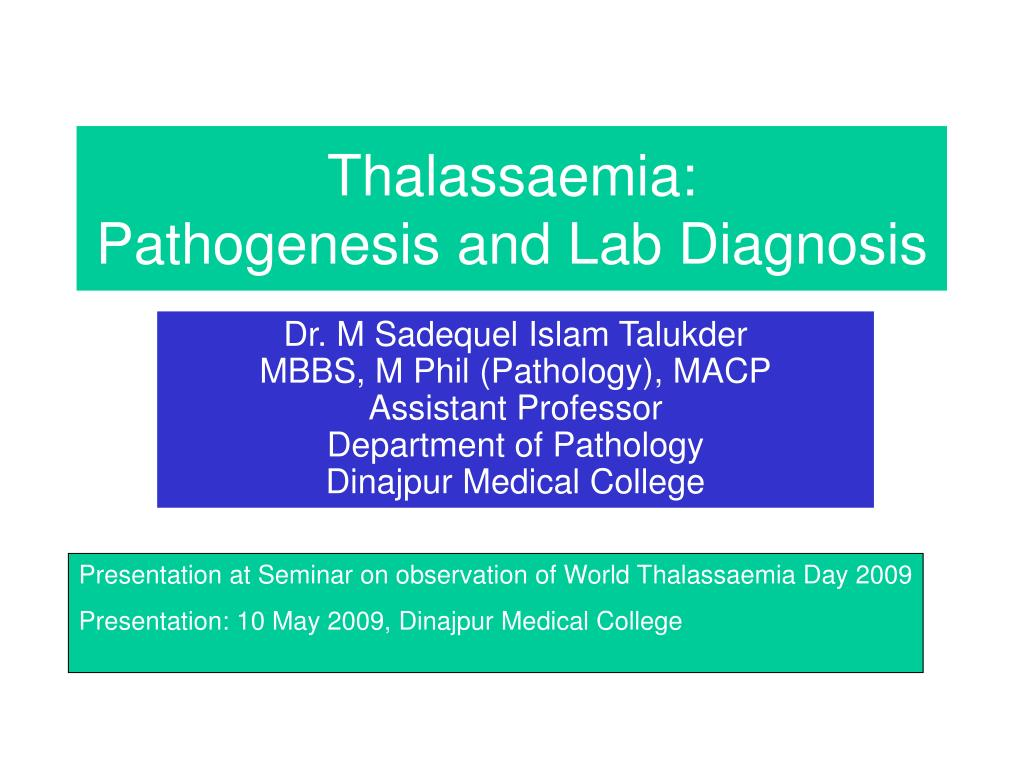 thalassaemia pathogenesis and lab diagnosis l.