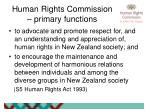 human rights commission primary functions