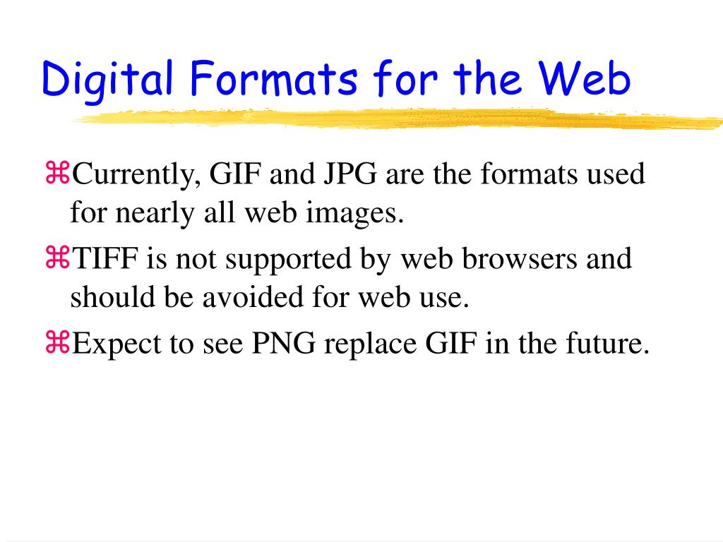 Digital Formats for the Web