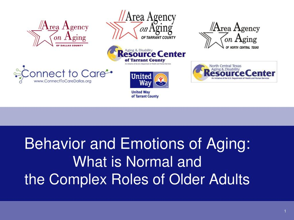 behavior and emotions of aging what is normal and the complex roles of older adults l.