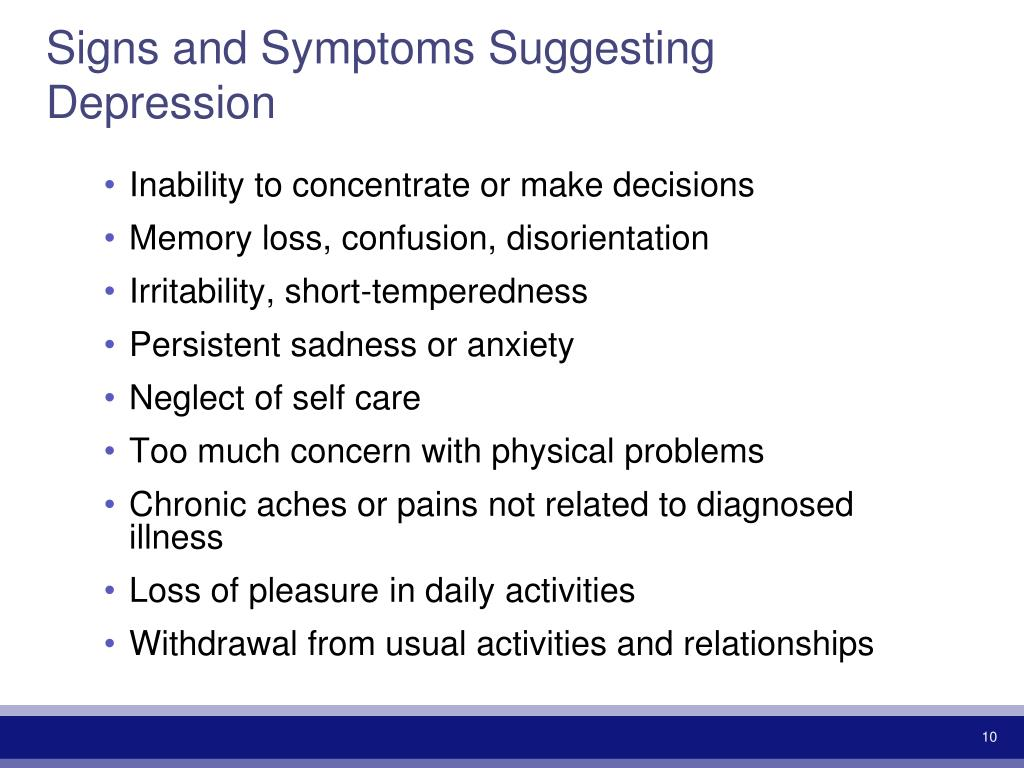 Signs and Symptoms Suggesting Depression