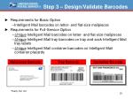 step 3 design validate barcodes