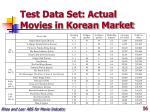 test data set actual movies in korean market