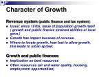 character of growth