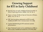 growing support for rti in early childhood