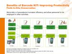 benefits of barcode kit improving productivity field in situ conservation