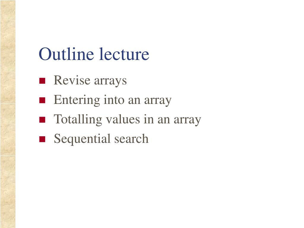 outline lecture