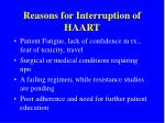 reasons for interruption of haart