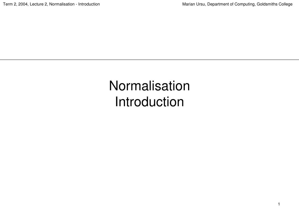 normalisation introduction l.