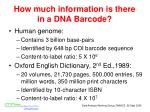 how much information is there in a dna barcode