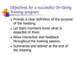 objectives for a successful on going training program