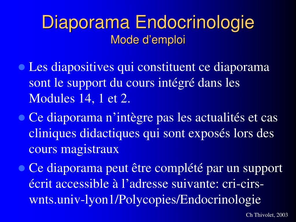 diaporama endocrinologie mode d emploi l.