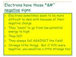 electrons have those negative signs