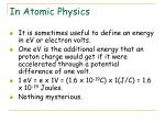 in atomic physics