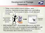 development of postage statements