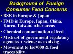 background of foreign consumer food concerns
