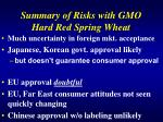 summary of risks with gmo hard red spring wheat
