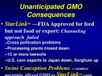 unanticipated gmo consequences