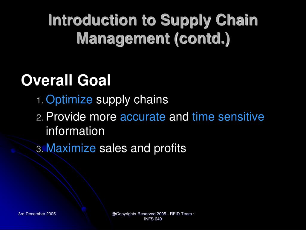 Introduction to Supply Chain Management (contd.)
