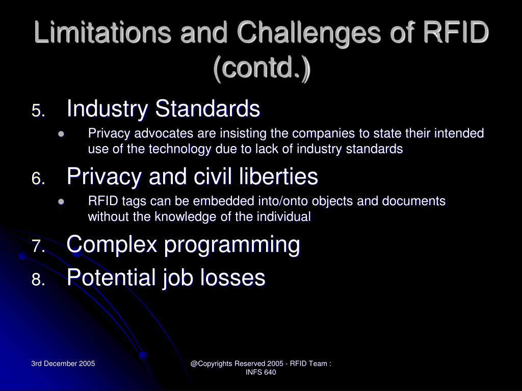 Limitations and Challenges of RFID (contd.)