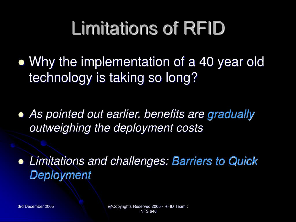 Limitations of RFID