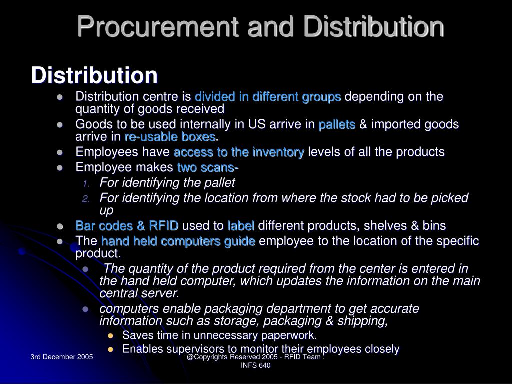 Procurement and Distribution