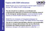 topics with ssh relevance