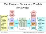 the financial sector as a conduit for savings