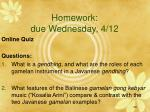 homework due wednesday 4 12
